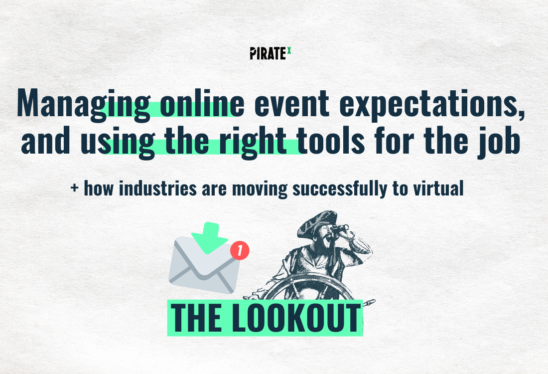All about Online Events from PIRATEx on how to manage attendee expectations for virtual events and how industries are successfully moving to virtual