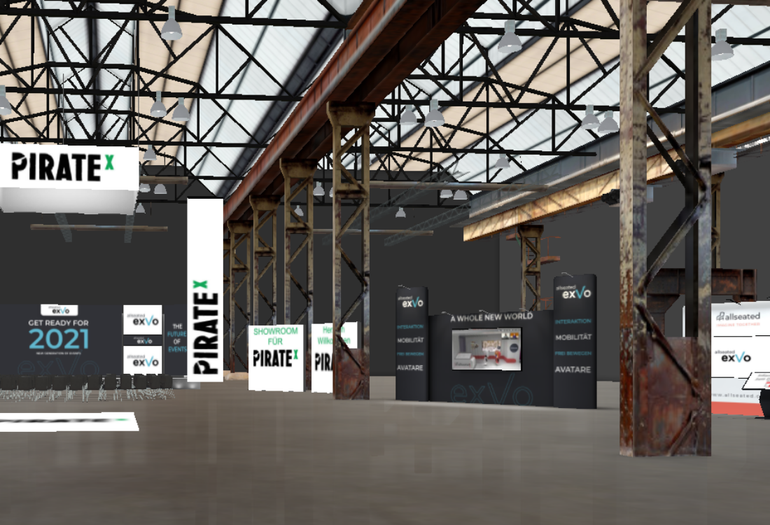 Screenshot inside the PIRATEx virtual exhibition space by exVo for 3D Virtual Events Platforms Blog Article